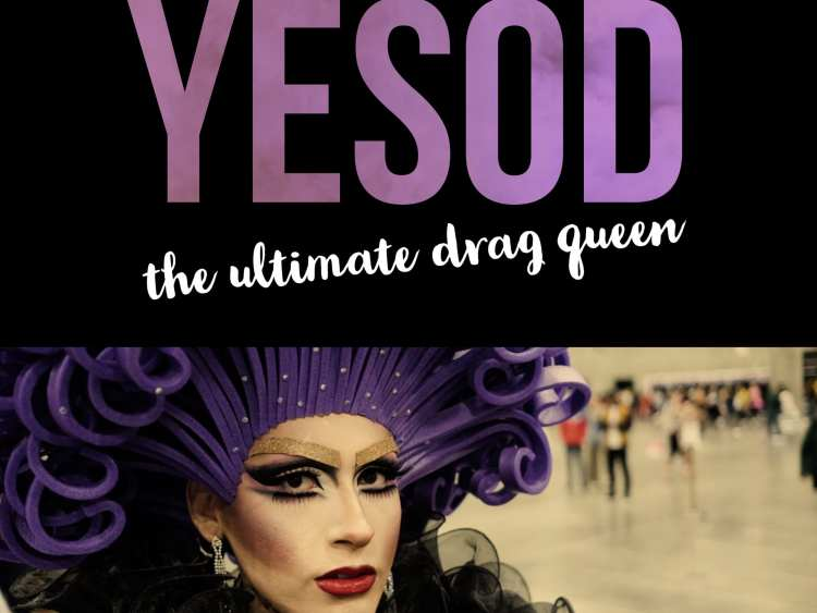 "A flamboyant drag queen with a purple foam wig and gold sparkly eyebrows. Text: ""Yesod: The ultimate drag queen."""
