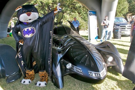 LSU mascot Mike the Tiger at Batmobile Tour