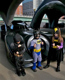 Young caped crusaders at Batmobile Tour in Cincinnati