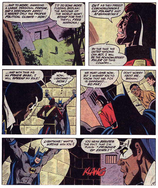 "[Barr, MIke W. & Aparo, Jim (w), Aparo, Jim (p&i).] ""Markovia's Last Stand!"" Batman & The Outsiders Vol. 1 #2 (September 1983), p.4, DC Comics Inc."