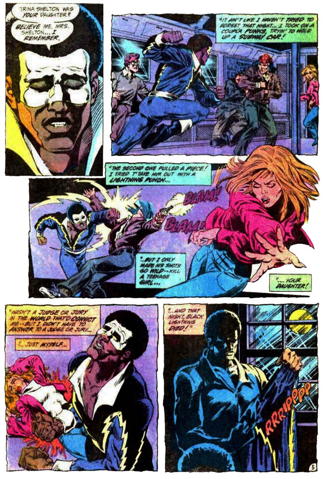 "[Barr, MIke W. & Aparo, Jim (w), Lightle, Steve & Trapani, Sal (a).] ""The Execution of Black Lightning"" Batman & The Outsiders Vol. 1 #10 (May 1984), p.5, DC Comics Inc."