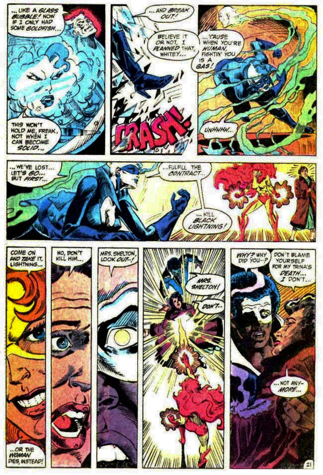 "[Barr, MIke W. & Aparo, Jim (w), Lightle, Steve & Trapani, Sal (a).] ""The Execution of Black Lightning"" Batman & The Outsiders Vol. 1 #10 (May 1984), p.21, DC Comics Inc."