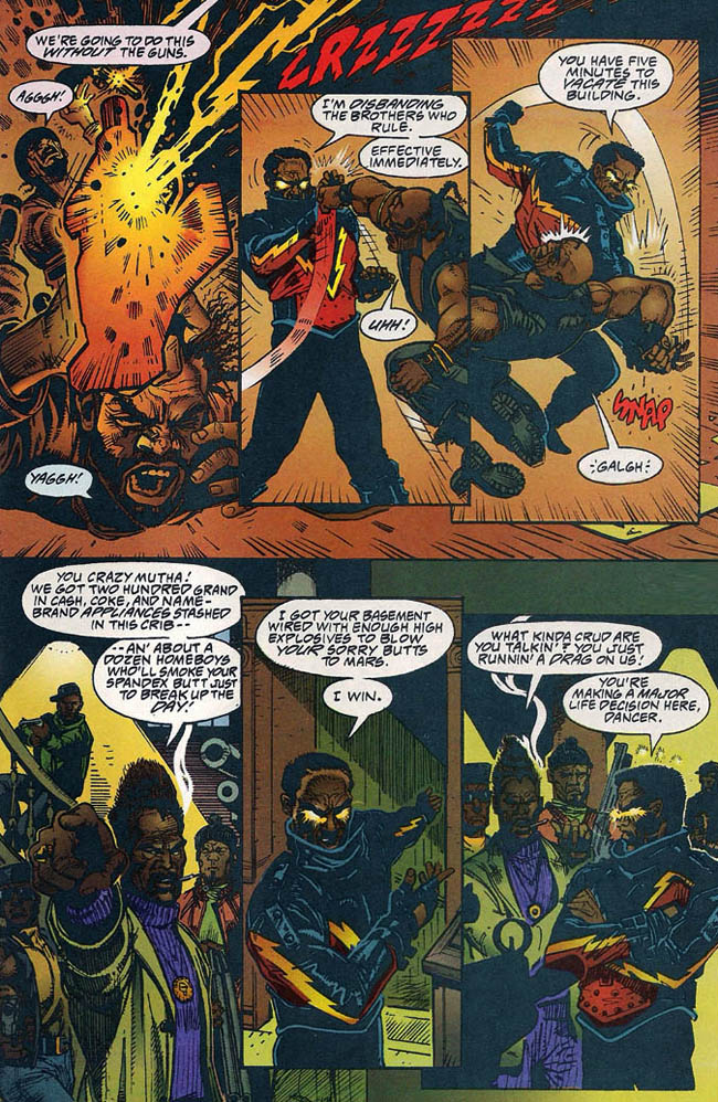 "[Isabella, Tony (w), Newell, Eddy (p) & McCain, Ron (i)..] ""The Weekend Report"" Black Lightning Vol. 2 #1 (February 1995), p.18, DC Comics Inc."