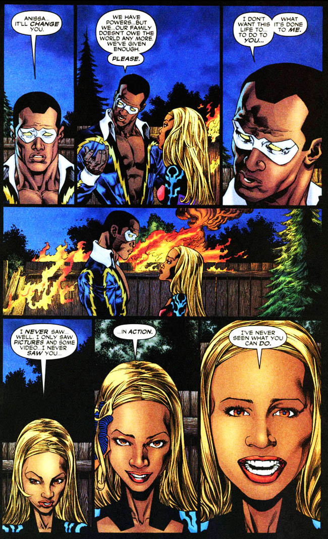 "[Winick, Judd (w), Raney, Tom (p), & Hanna, Scott (i).] ""Devil's Work."" Outsiders Vol. 3 #10 (May 2004), p.20, DC Comics Inc."