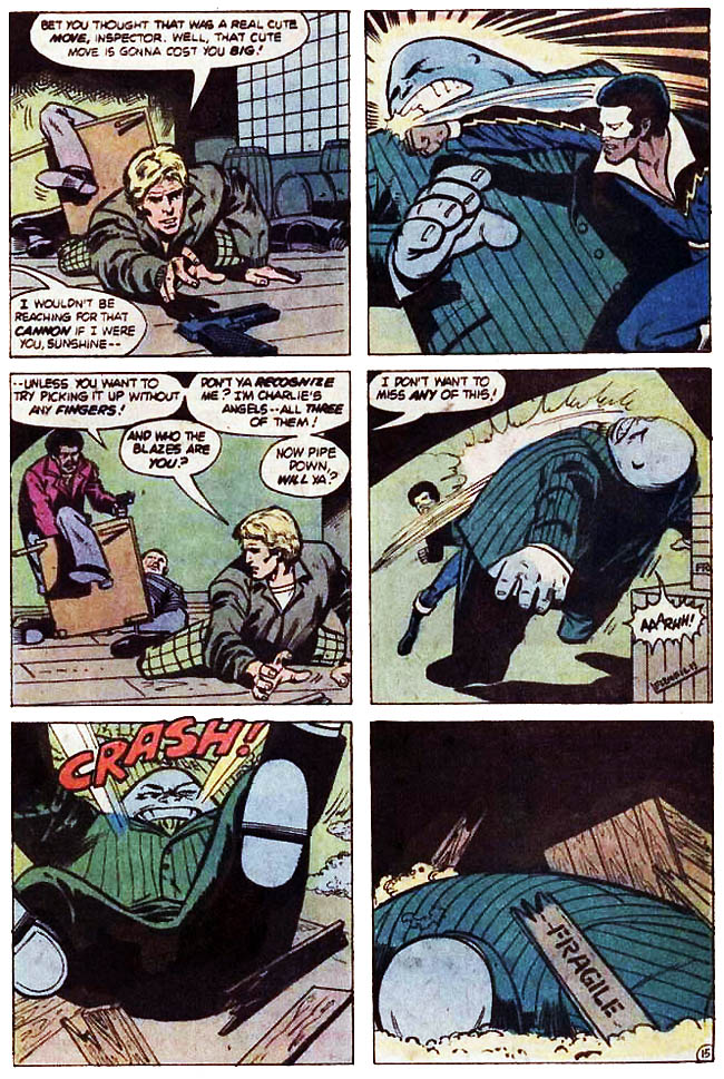 "[Isabella, Tony (w), Von Eeden, Trevor (p), and Colleta, Vince (i).]  ""Deadly Aftermath.!"" Black Lightning #8 (April 1978), p.15, DC Comics Inc."