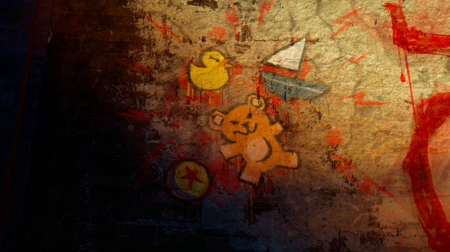 "Luxo – The Pixar Luxo ball is in graffiti on the wall behind Claire Wheeler and Brock Pearson during their introduction to the Scare Games' first challenge. Pixar Animation Studio's groundbreaking short film ""Luxo Jr."" was the first computer animated short film released by Pixar during its first year as a studio in 1986."
