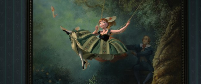 "REPURPOSED PAINTING – Artist Lisa Keene's painting—completed during the development phase of ""Tangled"" and based on ""The Swing"" by Jean-Honoré Fragonard—made such an impression on ""Frozen"" filmmakers, it became part of Anna's signature song, ""For the First Time in Forever,"" when she leaps into the air and mimics the painting's pose."