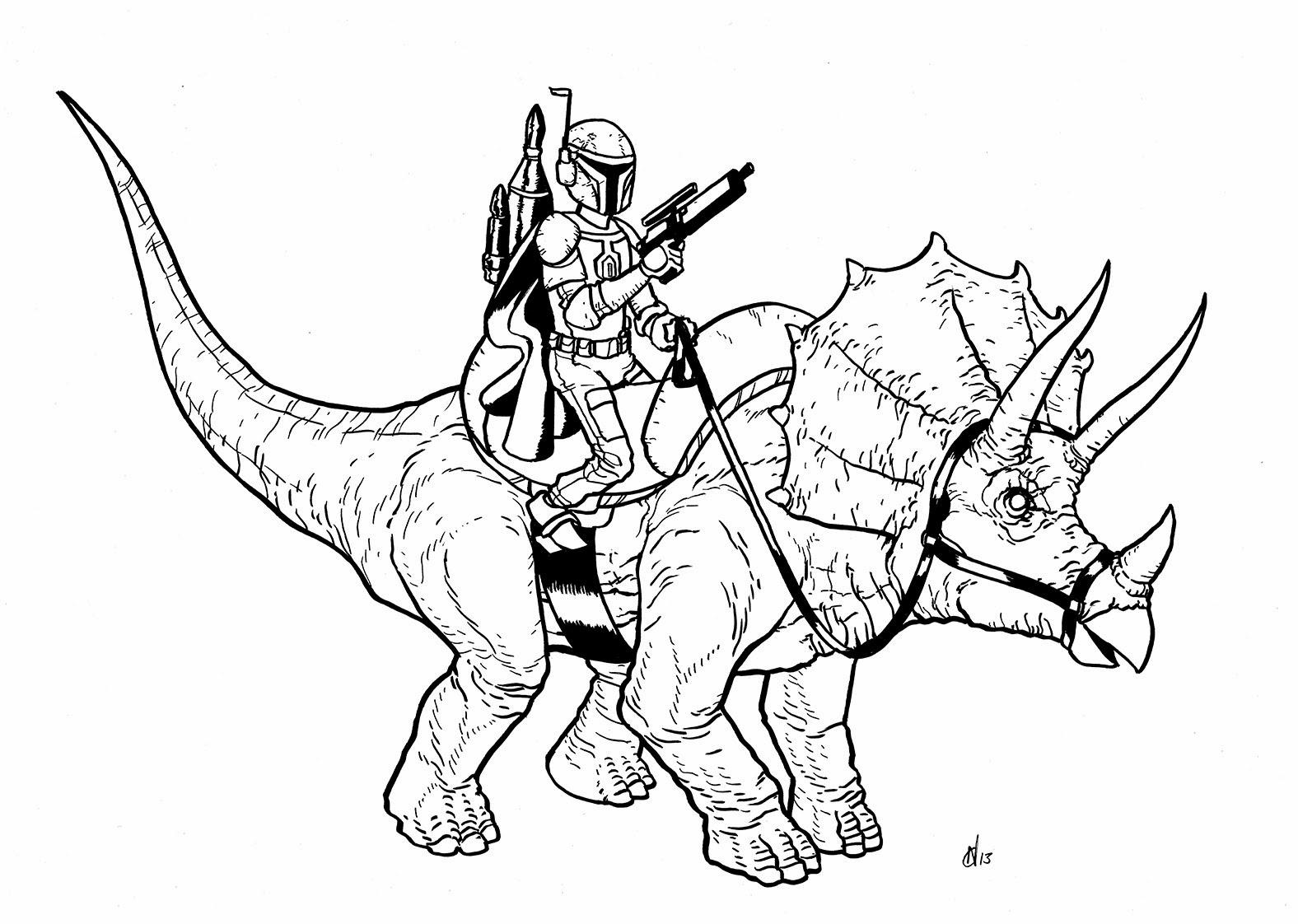 Art Appreciation Boba Fett Riding A Dinosaur