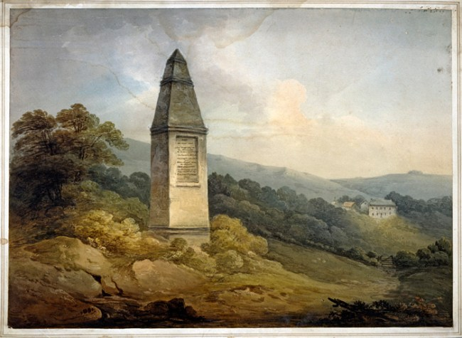 Monument at Wold Newton, Yorkshire, marking the landing site of a meteorite that fell on December 13, 1795