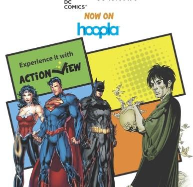 hoopla digital's service adds popular DC Entertainment comics such as Batman: The Dark Knight Returns, Watchmen, Superman: Earth One, Justice League Vol. 1: Origin, Daytripper and more. (PRNewsFoto/hoopla digital)