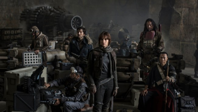 Star Wars: Rogue One L to R: Actors Riz Ahmed, Diego Luna, Felicity Jones, Jiang Wen and Donnie Yen Photo Credit: Jonathan Olley ©Lucasfilm 2016