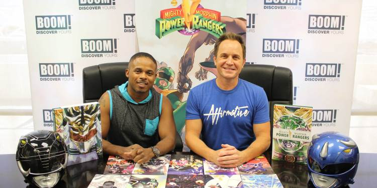 Power Rangers at BOOM! Studios booth at New York Comic Con