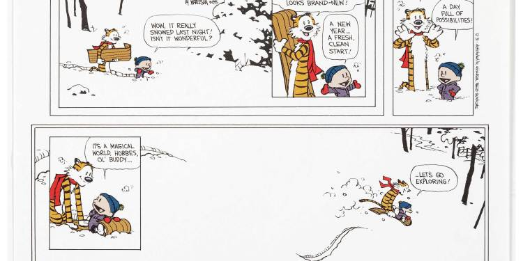 Calvin and Hobbes last Sunday Strip Charity Auction