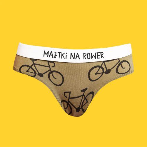Majtki na rower – figi bawełniane damskie – rowery khaki