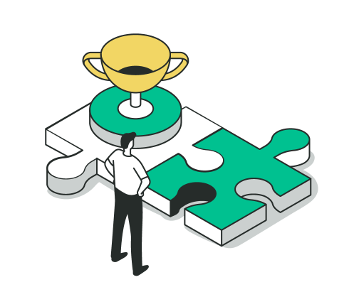 Resolving Product Portfolio Conundrums: Man looking at puzzle pieces with trophy on one piece