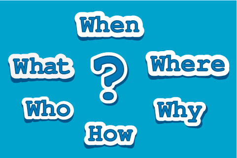 Image showing when, what, where, who, why, how