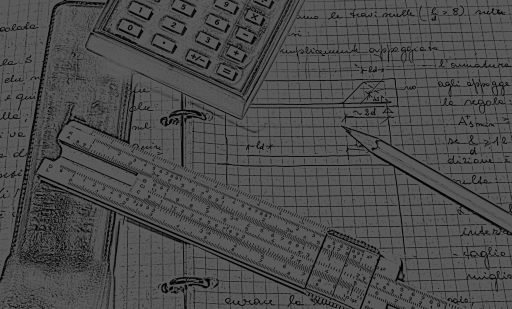 A drawing of a calculator, slide rule and grid paper.