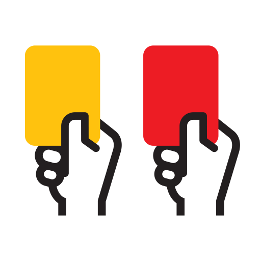 Red and yellow card from soccer