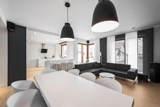 Biało szary salon z kuchnią