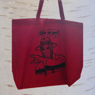 Red tote bag that says It's up to you.