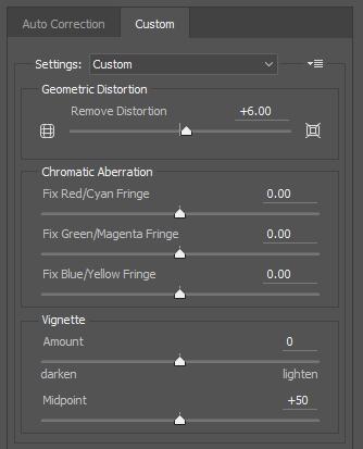 Lens correction filter custom SETTING