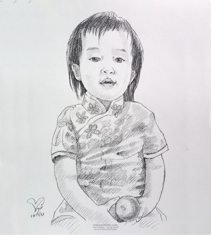 ภาพเหมือนลายเส้นดินสอ ภาพวาดเด็ก