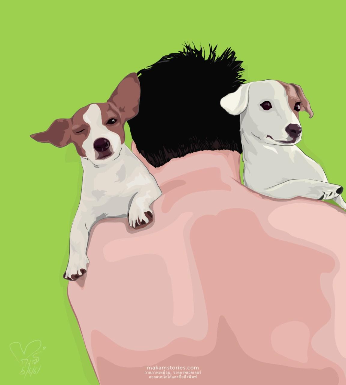 ภาพวาดสัตว์เลี้ยง ภาพเหมือนสไตล์เวคเตอร์ ภาพวาดด้วยโปรแกรม Affinity Designer