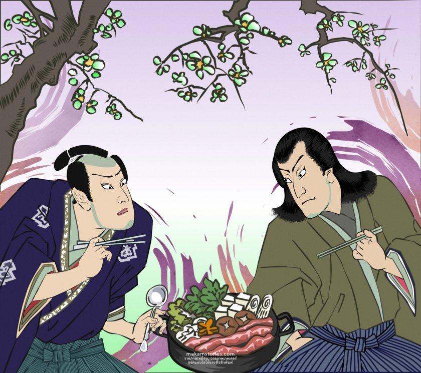 งานวาดภาพประกอบสไตล์ญี่ปุ่น ซามูไร สำหรับนำไปพิมพ์วอลล์เปเปอร์ติดผนังร้านชาบู