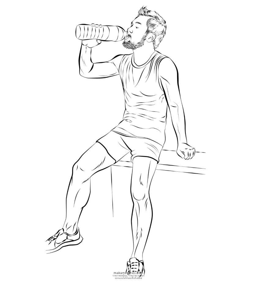 ภาพวาดเวคเตอร์ลายเส้นผู้ชาย เพื่อนำไปทำบล็อกสกรีนเสื้อ