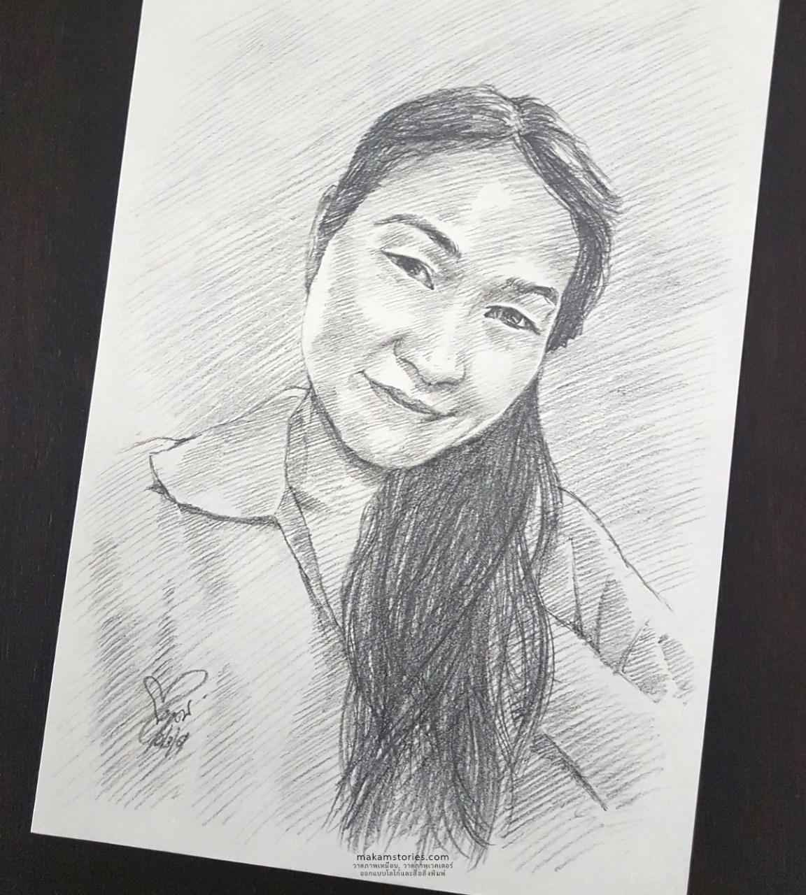 Drawing Pencil Woman ภาพเหมือนลายเส้นผู้หญิง