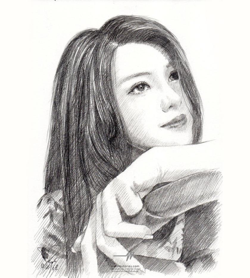 ภาพเหมือนลายเส้น วาดภาพเหมือนด้วยดินสอ ภาพวาดดรออิ้ง (Drawing Portrait)