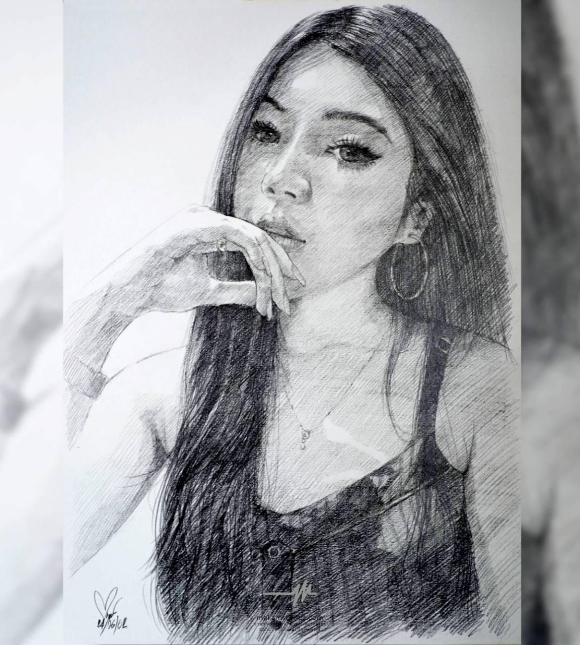 ภาพเหมือนลาดเส้น (Drawing) ภาพวาดภาพเหมือนผู้หญิง