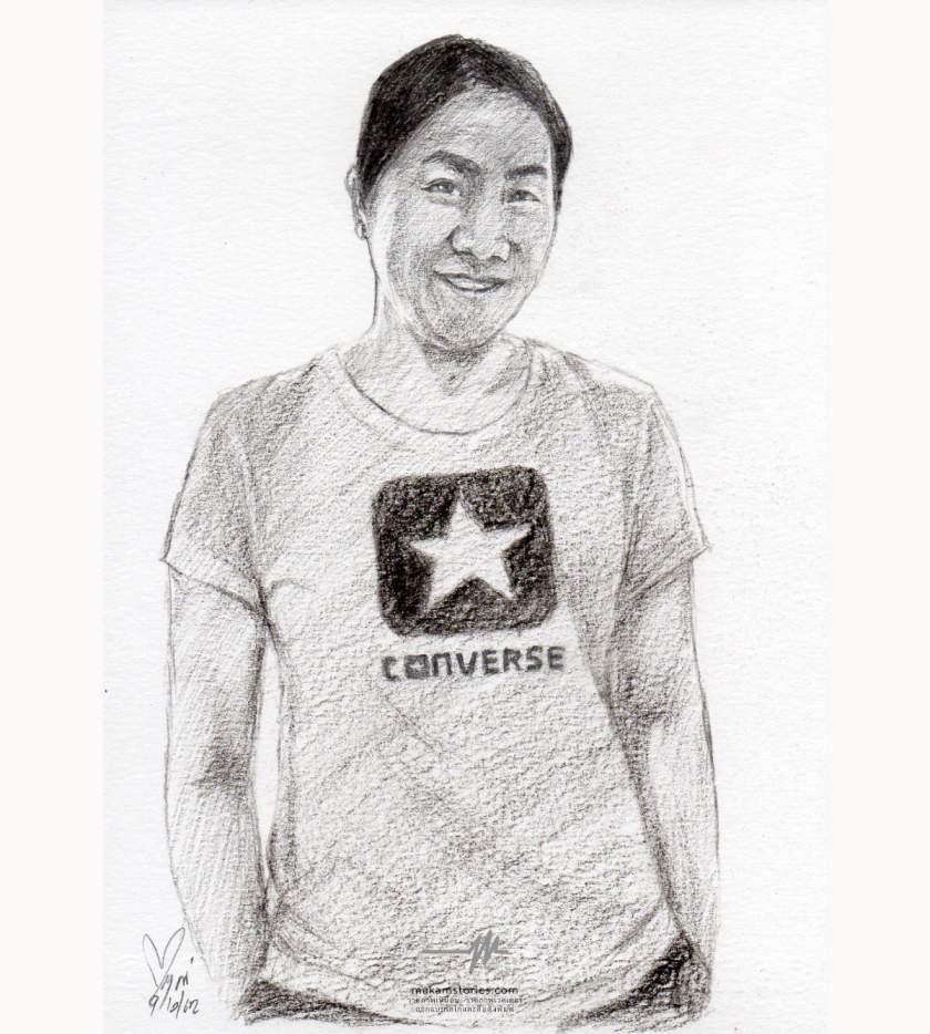 วาดภาพเหมือนลายเส้นดินสอ ภาพวาดดรออิ้งผู้หญิง Drawing Portrait Woman