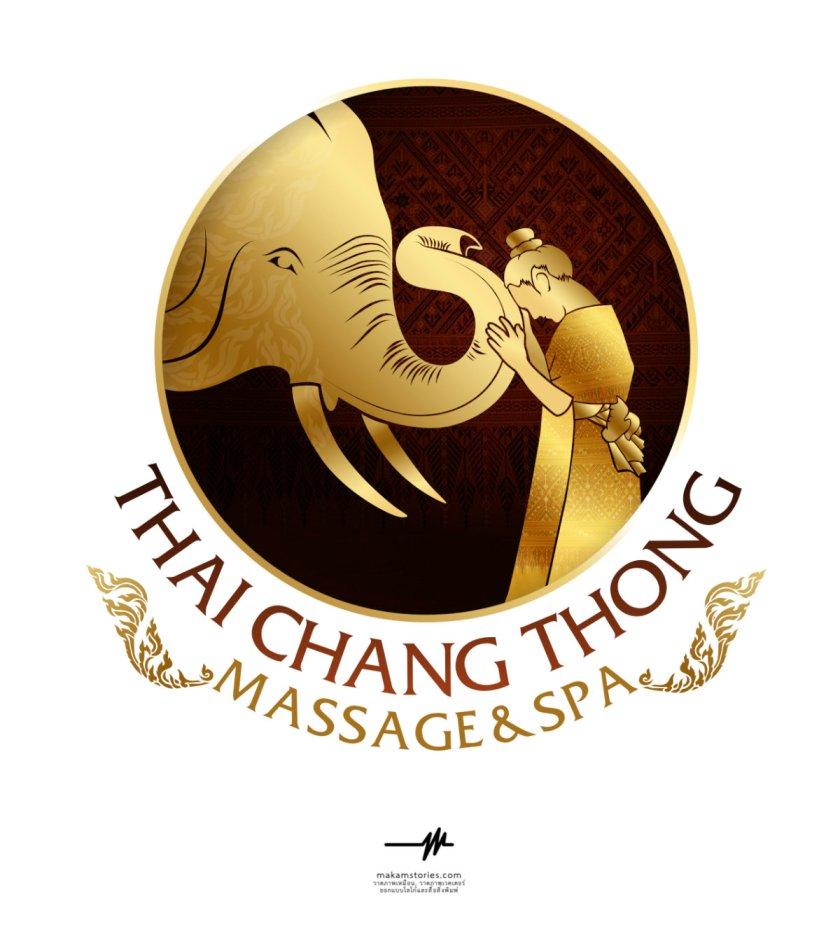 ออกแบบโลโก้ร้านนวดแผนไทย และสปา สไตล์โลโก้ลายไทยโทนสีทอง โลโก้รูปช้าง
