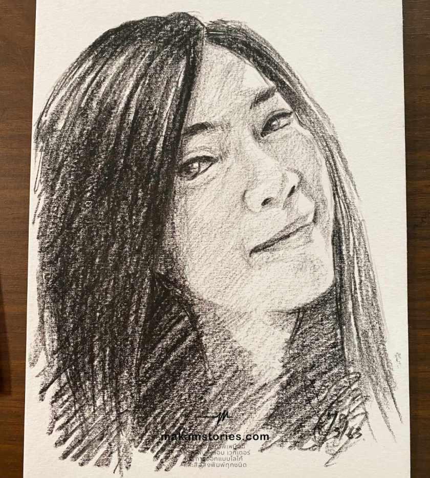 วาดภาพเหมือนลายเส้น ภาพเหมือนลายเส้นดินสอ รูปวาดผู้หญิง
