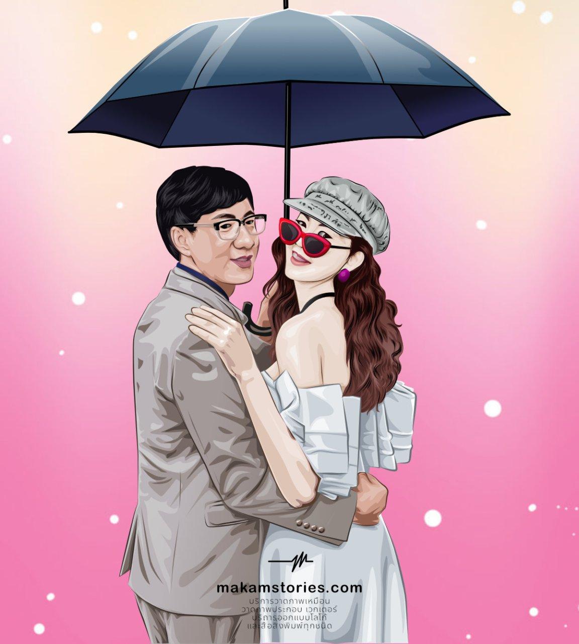 วาดภาพเหมือนสไตล์เวกเตอร์ ภาพวาดคู่รัก วาดภาพเหมือน Illustrator Vector Portrait ภาพวาดคู่บ่าวสาว ภาพวาดคู่รัก