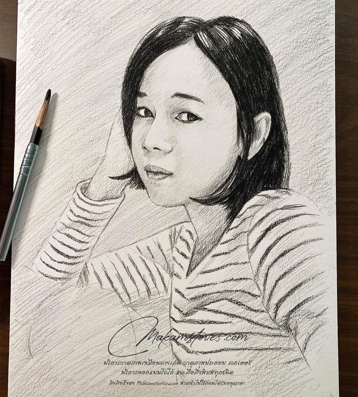 ภาพเหมือนลายเส้นดินสอ ภาพวาดดรออิ้ง ภาพวาดลายเส้นผู้หญิง Drawing Portrait