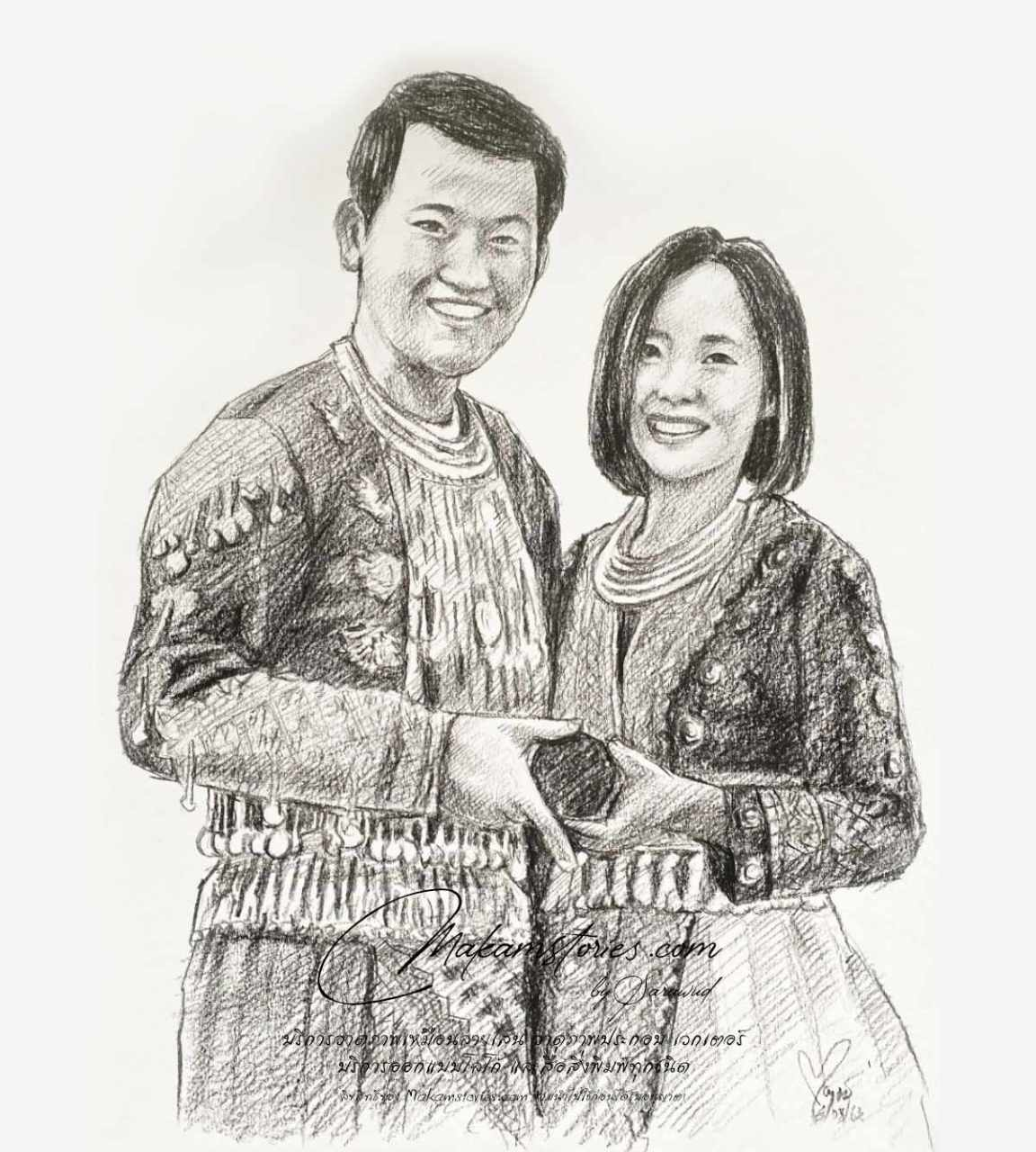 ภาพเหมือนลายเส้นดินสอ ภาพวาดลายเส้นที่ระลึกคู่บ่าวสาว ภาพวาดสำหรับงานแต่งงาน