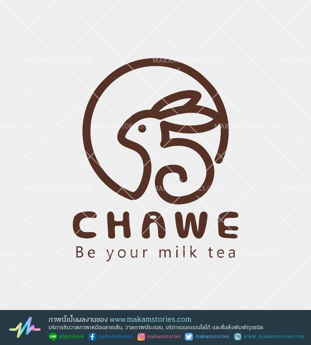 โลโก้ร้านขายชานมไขมุก โลโก้มินิมอล โลโก้คาเฟ่ Tea Logo