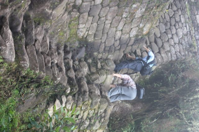 The tight and steep stairs of Huaynu Picchu..