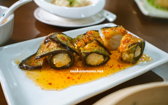 terong gulung bakso ikan saos thai
