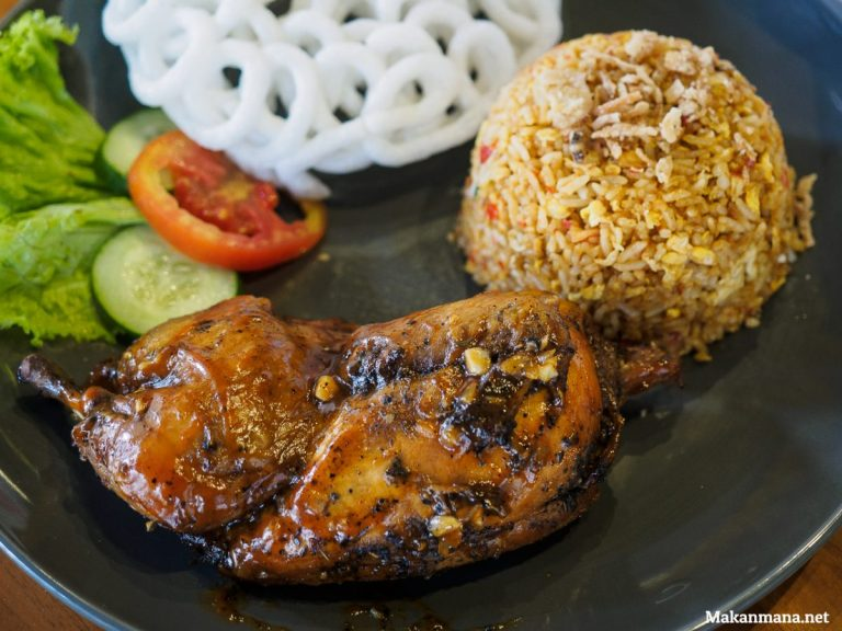 half roasted chicken with butter rice