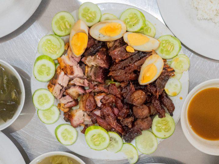 A plate of mix roast porks: Siobak, Chasio, Lap Chiong, Dendeng Babi, Pai Kut.
