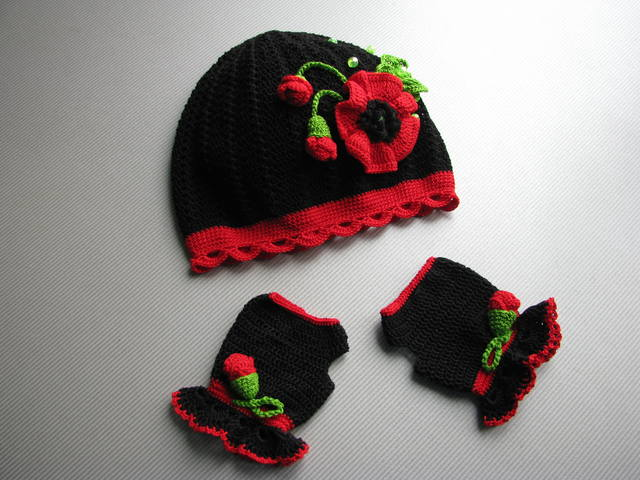 Crochet Poppy Hat And Mittens Make Handmade Crochet Craft