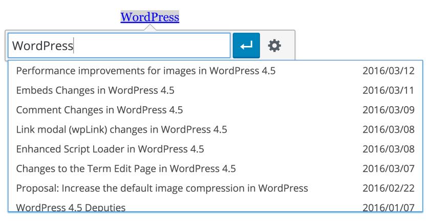 Inline link editing in the WordPress visual editor