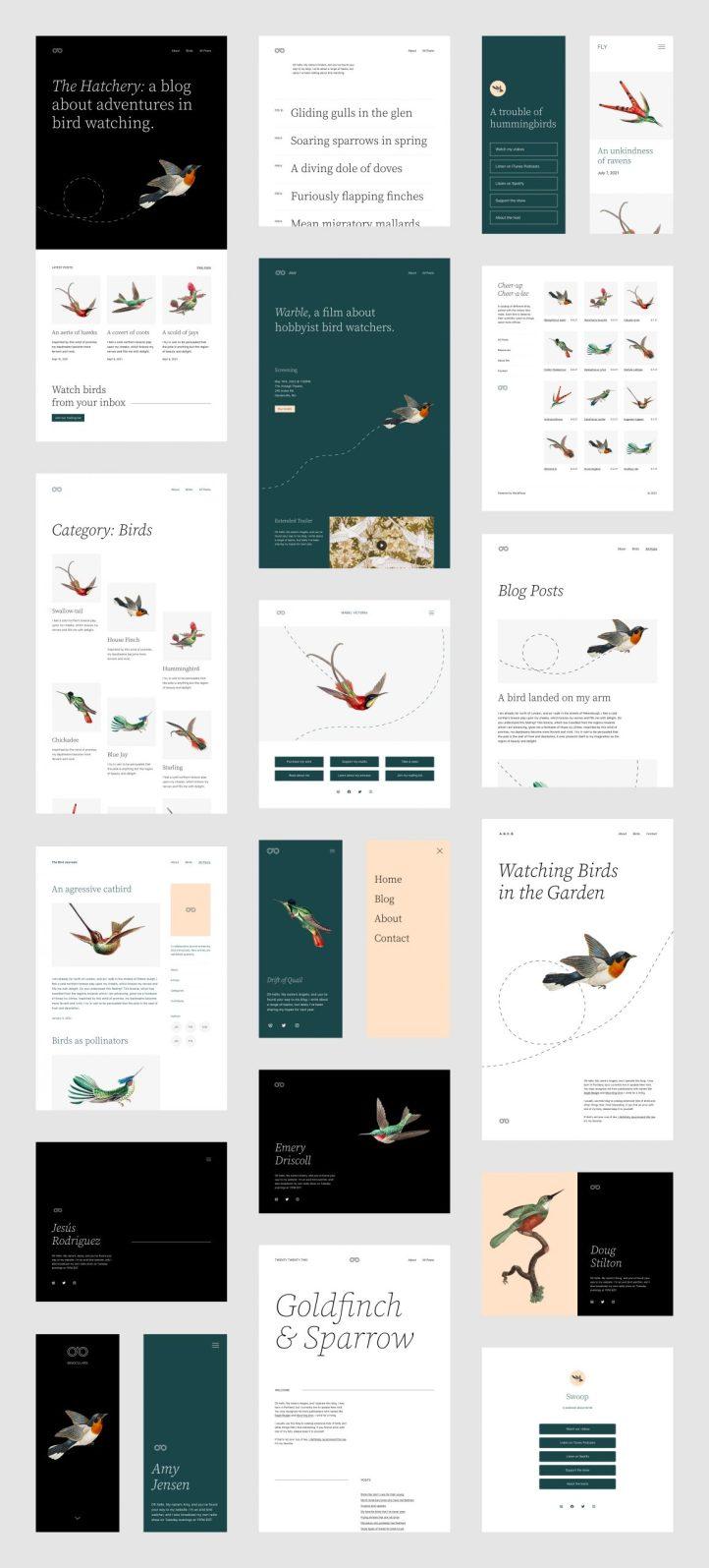Une variété de mises en page et de maquettes de motifs de blocs pour le thème Twenty Twenty-Two.