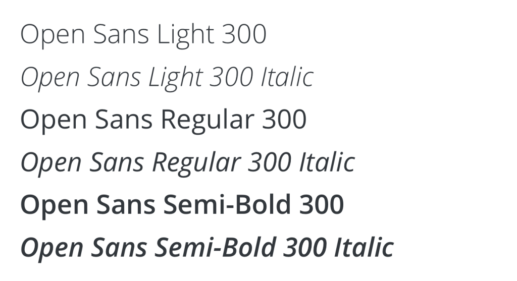 Open Sans Weights and Styles