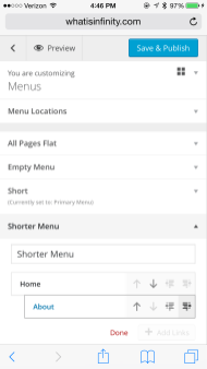 """Tap indent icon to make """"About"""" a submenu."""
