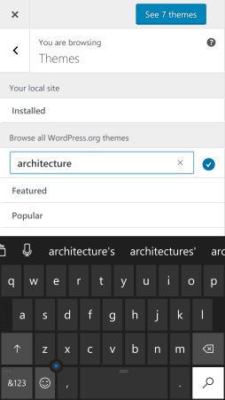 Enter a search, tap see 7 themes.