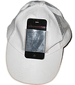 An iphone attached to a hat.